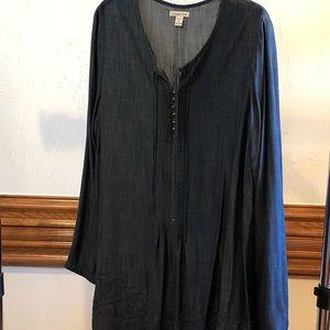 """Coldwater Creek denim tunic. 26"""" W & 35 1/2"""" L"""